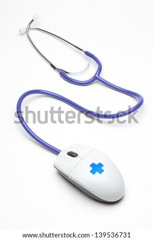 mouse with stethoscope - stock photo