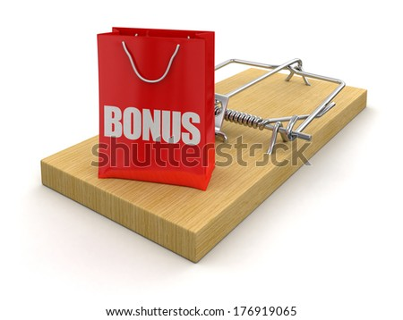 Mousetrap and bag bonus (clipping path included) - stock photo