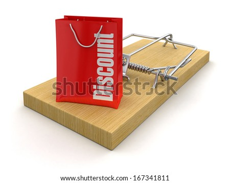 Mousetrap and bag Discount (clipping path included) - stock photo
