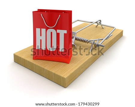 Mousetrap and bag Hot (clipping path included) - stock photo