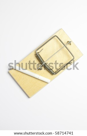 mousetrap and cigarette on white background