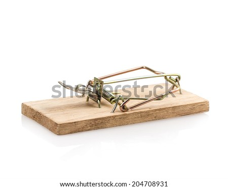 mousetrap Isolated on white background - stock photo