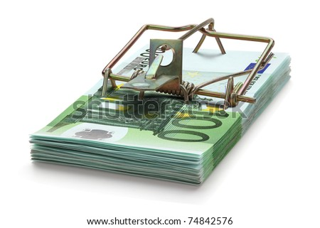 Mousetrap made of one hundred euro banknotes, isolated on the white background. Full focus. - stock photo