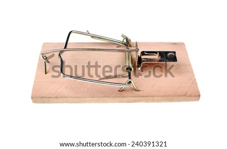 Mousetrap on a white background - stock photo