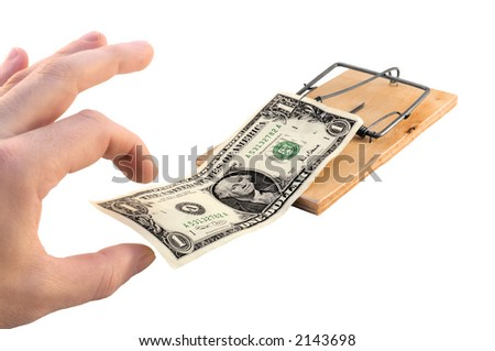 Mousetrap with a 100 american dollars as a bait - stock photo