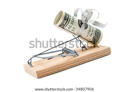 Mousetrap With A Dollars as Bait is isolated over a white background - stock photo