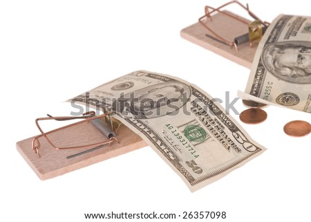 mousetrap with american money - stock photo