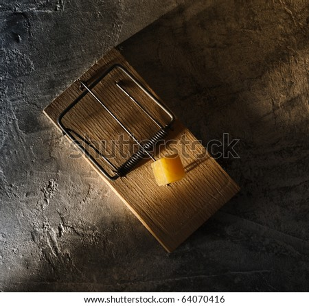 Mousetrap with cheese - stock photo