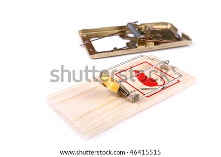 Mousetrap with cheese and empty on a white background - stock photo