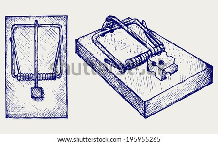 Mousetrap with cheese. Doodle style. Raster version - stock photo