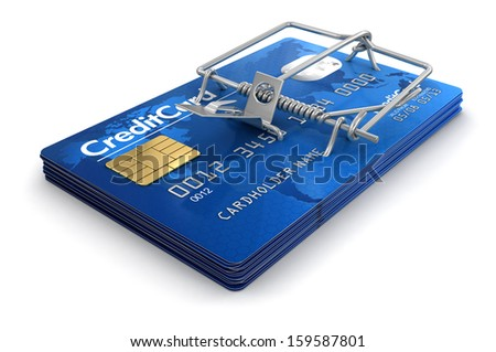 Mousetrap with Credit Cards (clipping path included) - stock photo