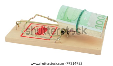 Mousetrap with euro isolated on white. (illustration of your money security or of the decoy, bait, artifice) - stock photo