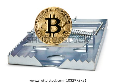 Mousetrap with golden bitcoin, isolated on the white background, clipping path included.