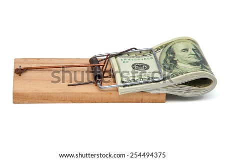 Mousetrap with hundred dollars bill - stock photo