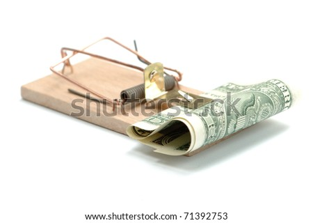 Mousetrap with one dollar, isolated on white - stock photo