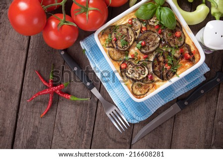 Moussaka dish, greek casserole with minced meat and aubergine - stock photo