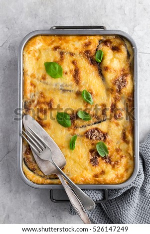 Moussaka. Traditional Greek eggplant casserole. top view