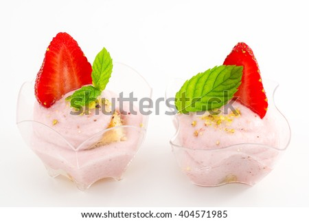 mousse with strawberries