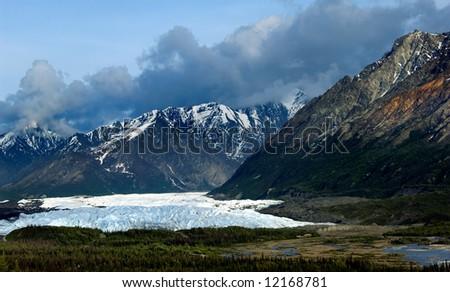 Moutains around Matanuska glacier along Alaskan highway 1 - stock photo