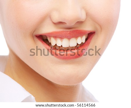 Mouth close up of smiling young woman, isolated on white background. - stock photo