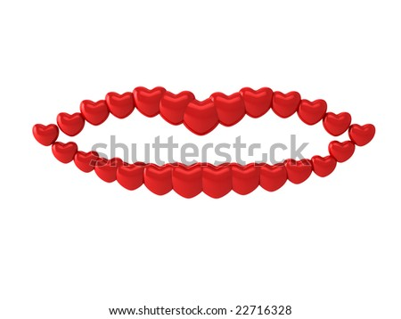 Mouth from hearts - stock photo