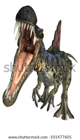Mouth open of Carnivorous Dinosaur - stock photo