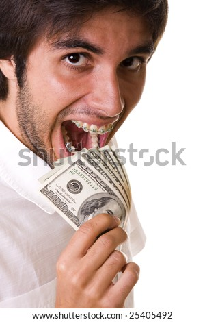 mouth with braces on the teeth eating money (isolated on withe) - stock photo