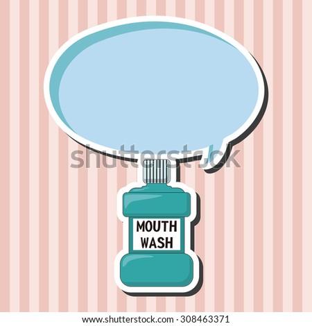 Mouthwash, cartoon speech icon - stock photo