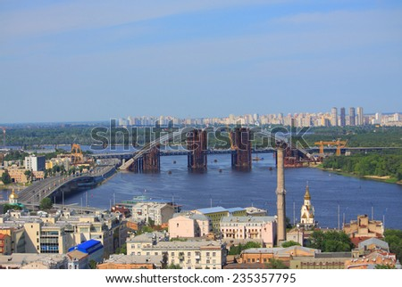 movable bridge on Dnieper river in Kiev, Ukraine