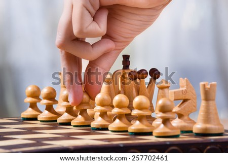 move a pawn - stock photo