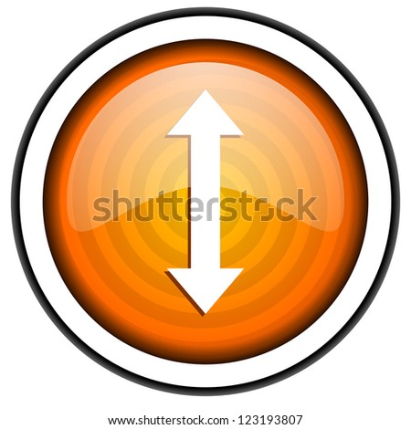 move arrow orange glossy icon isolated on white background