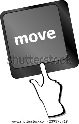 Move button word on keyboard keys - stock photo