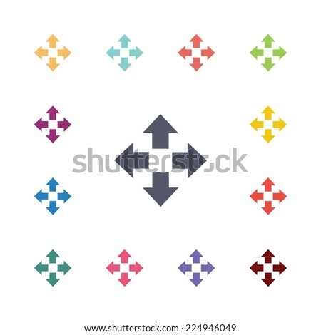 move flat icons set. Open round colorful buttons.  - stock photo