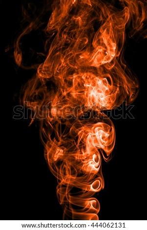Movement of smoke,Abstract color smoke on black background. - stock photo