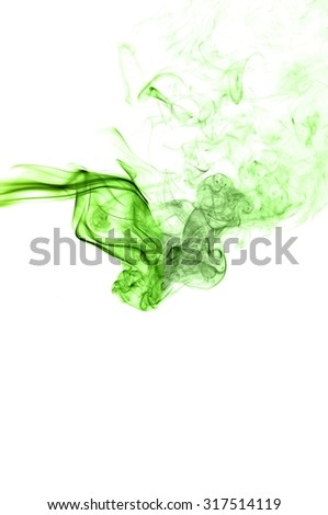 Movement of smoke,Abstract green smoke on white background, smoke background,green ink background,green, beautiful green smoke