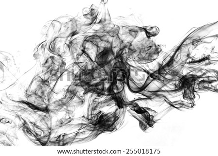 Movement of smoke on white backgrond. - stock photo