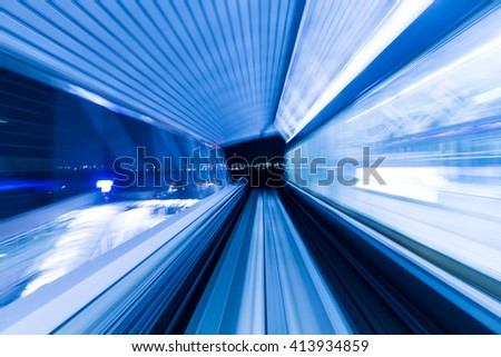 Movement of tunnel in blue - stock photo