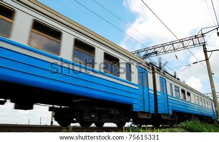 movement passenger car of a train - stock photo