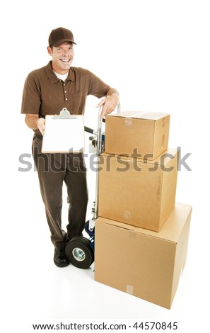 Mover or delivery man with a load of packages that require a signature.  Full body isolated on white. - stock photo