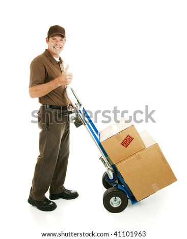 Mover or delivery man with his dolly, giving thumbs up sign.  Isolated on white. - stock photo