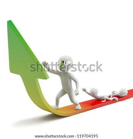 Moves to success. 3d image. On a white background.