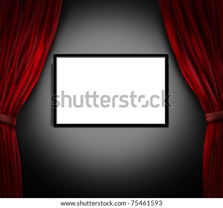 Movie and cinema blank screen with open red velvet curtains.