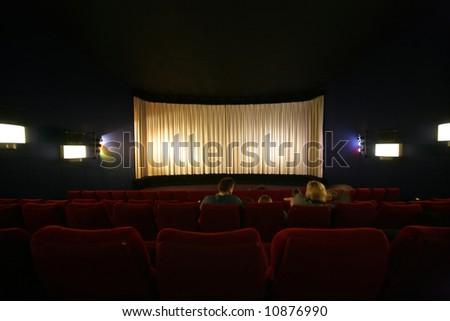 movie audience in cinema - stock photo
