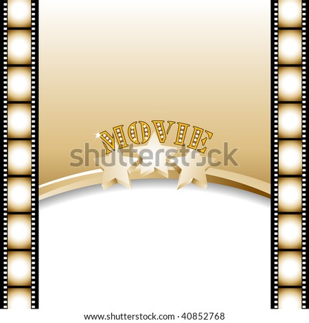 Movie background, poster with film strip.