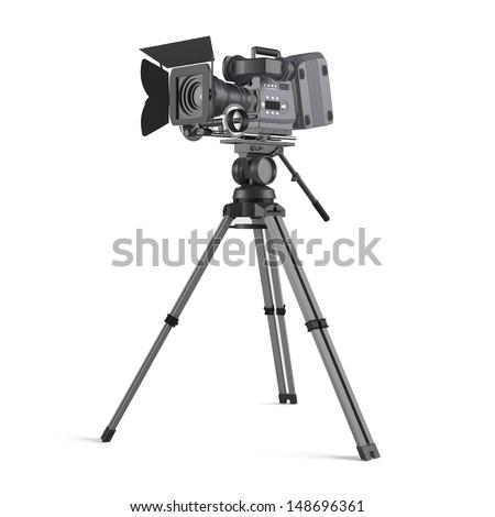 movie camera isolated - stock photo