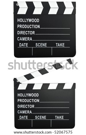movie camera slate clapper board open and closed. - stock photo