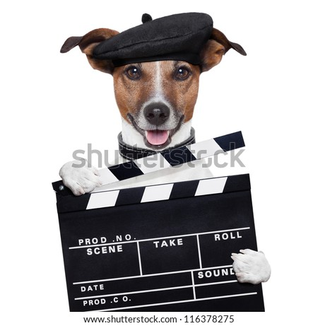 movie clapper board director dog - stock photo