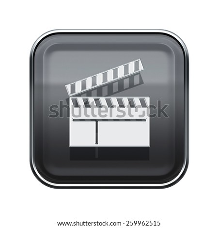 movie clapper board icon glossy grey, isolated on white background. - stock photo