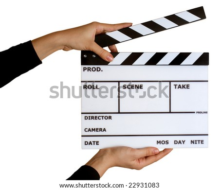 movie clapper board isolated on white with clipping path - stock photo