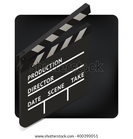 movie clapper board isometric perspective illustration. blank film slate. cinema production icon sign.
